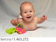 Купить «Улыбающийся ребенок в подгузнике», фото № 1463272, снято 5 августа 2008 г. (c) Юлия Шилова / Фотобанк Лори