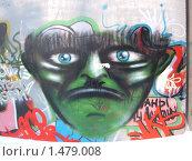 Купить «Ядовито - зелёное лицо с голубыми глазами. Граффити.», фото № 1479008, снято 8 февраля 2010 г. (c) Денис Кравченко / Фотобанк Лори