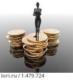 Купить «Женская фигура, стоящая на монетах», иллюстрация № 1479724 (c) Alperium / Фотобанк Лори