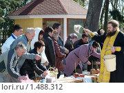 Купить «Священник освящает пасхальные куличи», фото № 1488312, снято 18 апреля 2009 г. (c) Владимир Фаевцов / Фотобанк Лори