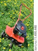 Мини трактор на цветочном лугу. Стоковое фото, фотограф Sergii Korshun / Фотобанк Лори