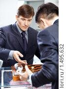 Купить «Два бизнесмена играют в шахматы», фото № 1495632, снято 26 января 2010 г. (c) Raev Denis / Фотобанк Лори