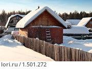 Купить «Дачный домик зимой. Тюменская область.», фото № 1501272, снято 22 февраля 2010 г. (c) Алексей Рогожа / Фотобанк Лори