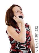 Купить «Девушка разговаривает по мобильному телефону», фото № 1501332, снято 9 января 2010 г. (c) Сергей Дубров / Фотобанк Лори