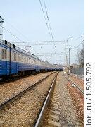 Купить «Поезд на рельсах», фото № 1505792, снято 11 апреля 2009 г. (c) Максим Лоскутников / Фотобанк Лори