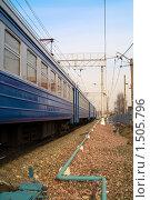 Купить «Поезд на рельсах», фото № 1505796, снято 11 апреля 2009 г. (c) Максим Лоскутников / Фотобанк Лори