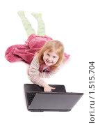 Девочка с ноутбуком. Стоковое фото, фотограф Майя Крученкова / Фотобанк Лори
