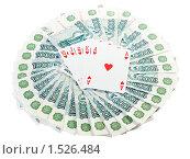 Купить «Роял Флэш и пачка тысячных купюр. Выигрыш.», фото № 1526484, снято 27 февраля 2010 г. (c) Юлия Машкова / Фотобанк Лори