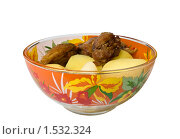 Купить «Мясо курицы с картошкой, изолированно», фото № 1532324, снято 28 февраля 2010 г. (c) Владимир Шеховцев / Фотобанк Лори