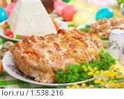 Купить «Традиционный пасхальный стол: творожная пасха, мясо», эксклюзивное фото № 1538216, снято 8 марта 2010 г. (c) Давид Мзареулян / Фотобанк Лори