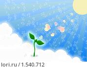Росток из облаков. Стоковая иллюстрация, иллюстратор Екатерина Новикова / Фотобанк Лори