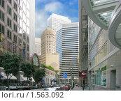 Купить «Улица, окруженная небоскребами в Сан-Франциско», фото № 1563092, снято 24 сентября 2008 г. (c) Валентина Троль / Фотобанк Лори