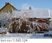Дачный домик в снегу. Стоковое фото, фотограф Александр Новиков / Фотобанк Лори