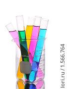 Купить «Пробирки с цветными жидкостями в химическом стакане», фото № 1566764, снято 13 февраля 2010 г. (c) Денис Ларкин / Фотобанк Лори