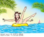 Девушка на желтом круге в море. Стоковая иллюстрация, иллюстратор Екатерина Букреева / Фотобанк Лори
