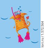 Полосатый кот под водой в маске. Стоковая иллюстрация, иллюстратор Екатерина Букреева / Фотобанк Лори