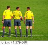 Купить «Судейская бригада перед матчем», фото № 1579660, снято 11 июня 2009 г. (c) Юлия Жмачинская / Фотобанк Лори