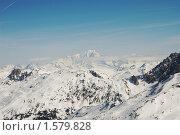 Монблан в дымке, французские Альпы, вид со стороны Валь д'Изер. Стоковое фото, фотограф Семин Илья / Фотобанк Лори