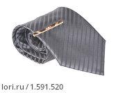 Купить «Галстук с булавой, свернутый в трубочку, на белом фоне», фото № 1591520, снято 2 января 2010 г. (c) Денис Ларкин / Фотобанк Лори