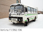 Купить «Разбитый в ДТП автобус», фото № 1592136, снято 30 декабря 2009 г. (c) Art Konovalov / Фотобанк Лори