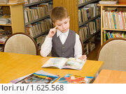 Купить «Первоклассник в библиотеке», фото № 1625568, снято 13 апреля 2010 г. (c) Типляшина Евгения / Фотобанк Лори