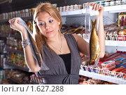 Купить «Девушка покупатель выбирает рыбу в магазине», фото № 1627288, снято 11 апреля 2010 г. (c) Баевский Дмитрий / Фотобанк Лори