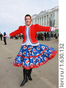 Купить «Девушка в русском национальном костюме. Праздник масленицы.», фото № 1630132, снято 14 февраля 2010 г. (c) Igor Lijashkov / Фотобанк Лори