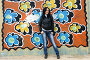 Девушка у стены с граффити, фото № 1635424, снято 17 апреля 2010 г. (c) Ткачёва Ольга / Фотобанк Лори