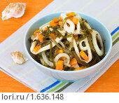 Купить «Салат из морской капусты с кальмарами и морковью», фото № 1636148, снято 17 апреля 2010 г. (c) Ольга Иванова / Фотобанк Лори