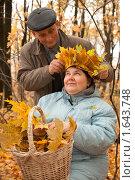 Купить «Пожилая пара в осеннем парке», фото № 1643748, снято 10 октября 2009 г. (c) Losevsky Pavel / Фотобанк Лори