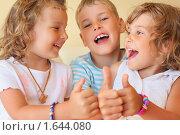 """Купить «Смеющиеся дети показывают жест """"отлично""""», фото № 1644080, снято 11 июля 2009 г. (c) Losevsky Pavel / Фотобанк Лори"""