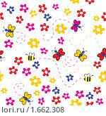 Фон с цветами, бабочками и пчелами. Стоковая иллюстрация, иллюстратор Королева Елена Викторовна / Фотобанк Лори
