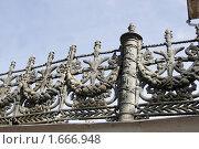 Литая решетка Октябрьского моста в Ярославле. Стоковое фото, фотограф Петр Бюнау / Фотобанк Лори