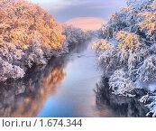 Купить «Река зимой», фото № 1674344, снято 25 сентября 2018 г. (c) Мирзоянц Андрей / Фотобанк Лори