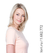 Купить «Портрет блондинки на белом фоне», фото № 1682772, снято 18 апреля 2010 г. (c) Валуа Виталий / Фотобанк Лори
