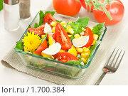 Купить «Салат из листьев одуванчика, помидоров и кукурузы с яйцом», эксклюзивное фото № 1700384, снято 11 мая 2010 г. (c) Давид Мзареулян / Фотобанк Лори