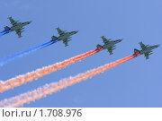Купить «Триколор над Красной площадью. Фронтовые штурмовики-бомбардировщики Су-25 рисуют российский флаг на параде 9 мая 2010 года в Москве», эксклюзивное фото № 1708976, снято 9 мая 2010 г. (c) Дмитрий Неумоин / Фотобанк Лори