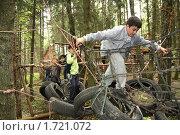 Купить «Дети на полосе препятствий в лесу», фото № 1721072, снято 18 мая 2010 г. (c) Галина Бурцева / Фотобанк Лори