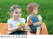 Купить «Две маленькие девочки на зеленой поляне с фруктами и книгой», фото № 1723212, снято 16 мая 2010 г. (c) Дарья Петренко / Фотобанк Лори