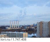 Купить «Трубы котельной в жилом районе», фото № 1747408, снято 7 марта 2010 г. (c) Сергей Шляев / Фотобанк Лори