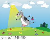 Корова бежит по полянке и нюхает цветок. Стоковая иллюстрация, иллюстратор Павлова Елена / Фотобанк Лори