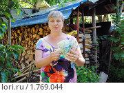 Купить «Дачница у поленницы с деньгами», эксклюзивное фото № 1769044, снято 13 июня 2010 г. (c) Анна Мартынова / Фотобанк Лори