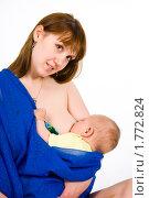 Купить «Младенец сосет грудь», эксклюзивное фото № 1772824, снято 20 мая 2010 г. (c) Куликова Вероника / Фотобанк Лори