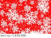 Купить «Красный фон с большими, белыми снежинками, для новогодней открытки», фото № 1818596, снято 16 июля 2019 г. (c) Наталия Скоморохова / Фотобанк Лори