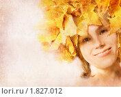 Акварельный портрет девушки. Тема осени. Стоковая иллюстрация, иллюстратор Алексей Кузнецов / Фотобанк Лори
