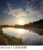 Купить «Восход солнца над рекой Сим», фото № 1834840, снято 26 июня 2010 г. (c) Михаил Коханчиков / Фотобанк Лори