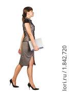 Купить «Красивая девушка-предприниматель с ноутбуком», фото № 1842720, снято 11 июля 2009 г. (c) Кропотов Лев / Фотобанк Лори