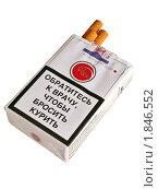 Купить «Предупреждающая надпись на пачке сигарет», фото № 1846552, снято 17 июля 2010 г. (c) Владимир Сергеев / Фотобанк Лори
