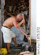 Купить «Мужчина колет дрова», фото № 1875572, снято 31 июля 2010 г. (c) Катерина Макарова / Фотобанк Лори