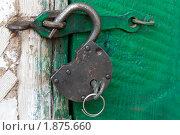 Старый висячий замок с ключом на зеленой двери. Стоковое фото, фотограф Левончук Юрий / Фотобанк Лори